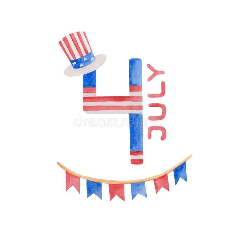 Ejemplo 4to de la acuarela del D?a de la Independencia de julio en los E.E.U.U. libre illustration