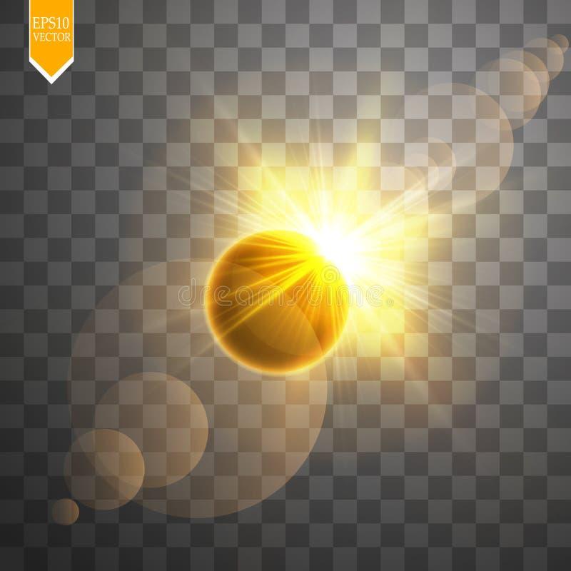 Ejemplo total del vector del eclipse solar en fondo transparente Eclipse del sol de la sombra de la Luna Llena con vector de la c stock de ilustración