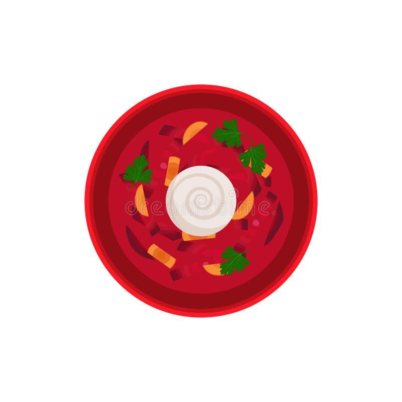 Ejemplo tradicional del vector del cuenco del plato del Borsch ilustración del vector