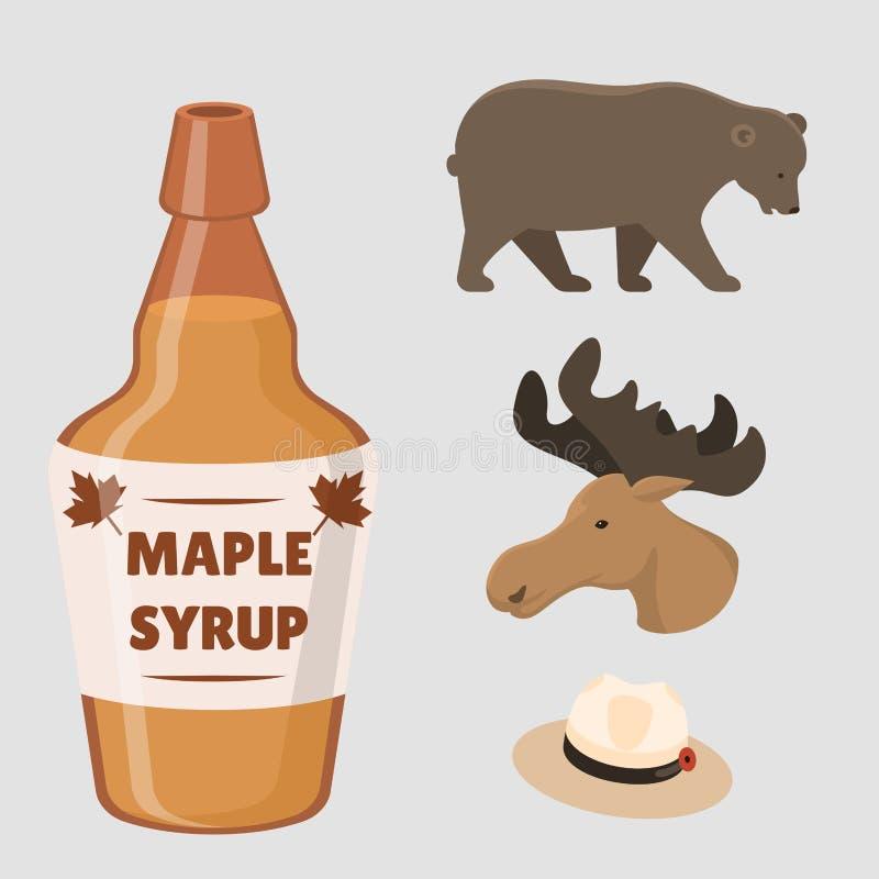 Ejemplo tradicional del vector del símbolo nacional del diseño del turismo del país de los objetos de Canadá del viaje libre illustration