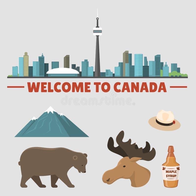 Ejemplo tradicional del vector del símbolo nacional del diseño del turismo del país de los objetos de Canadá del viaje stock de ilustración
