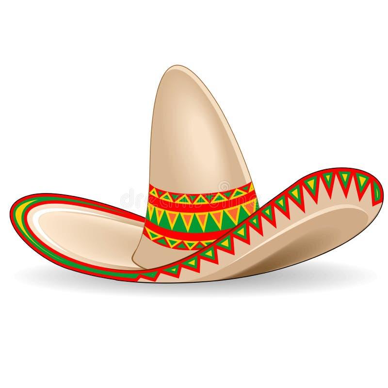 Ejemplo tradicional del vector del sombrero de México del sombrero aislado en blanco stock de ilustración