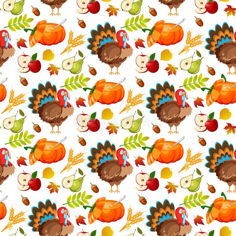 Ejemplo tradicional inconsútil del vector de la celebración de la cosecha de la comida del día de fiesta de la calabaza de otoño  stock de ilustración