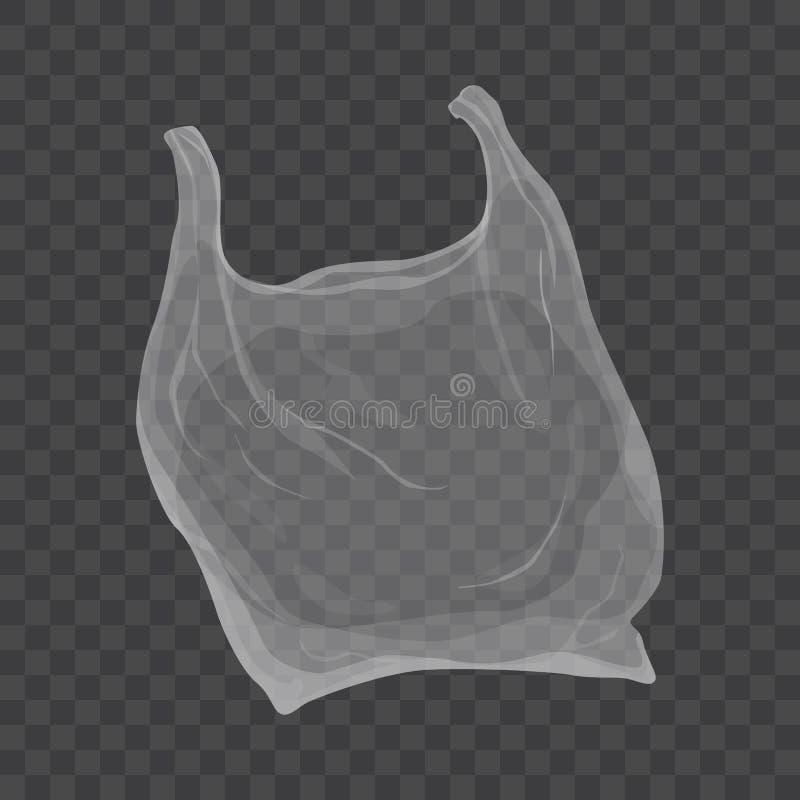 Ejemplo transparente de la bolsa de plástico del vector aislado en fondo transparente stock de ilustración