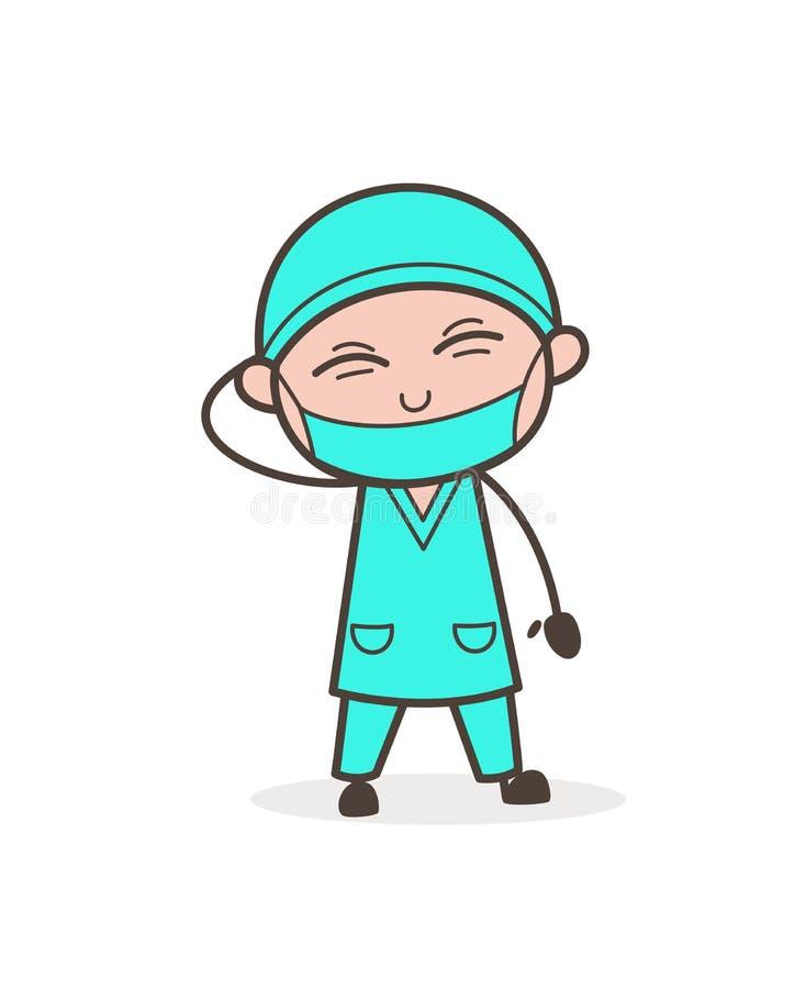 Ejemplo travieso de Laughing Expression Vector del cirujano ilustración del vector