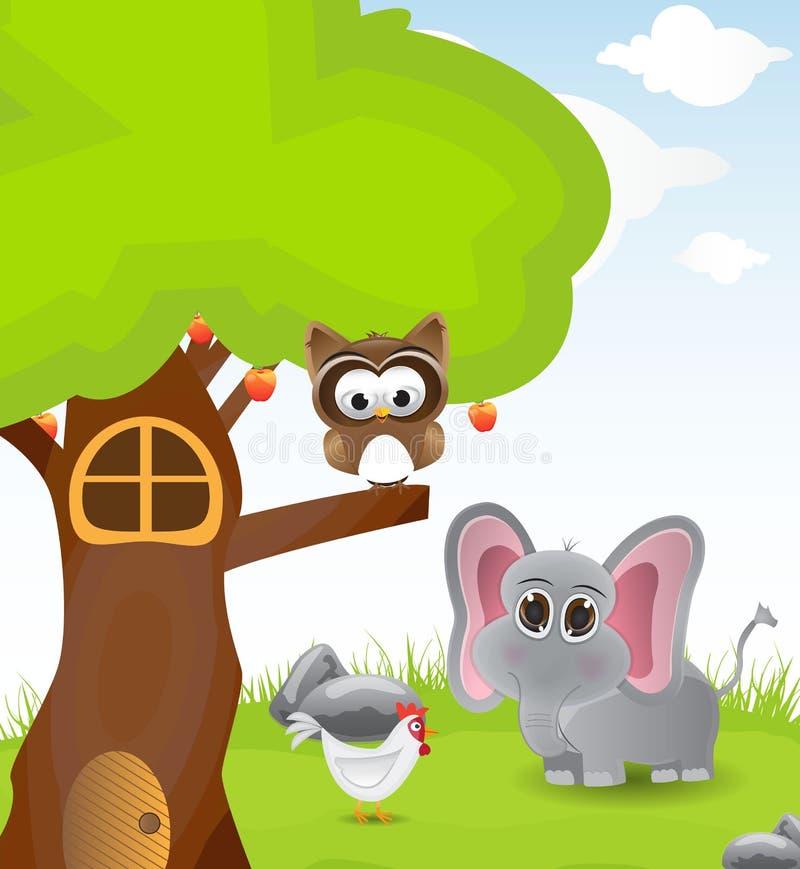 Ejemplo tres con pocos animal stock de ilustración