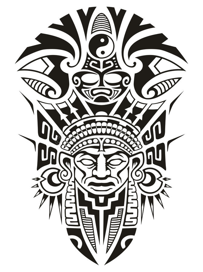 Ejemplo tribal antiguo del vector de la máscara libre illustration