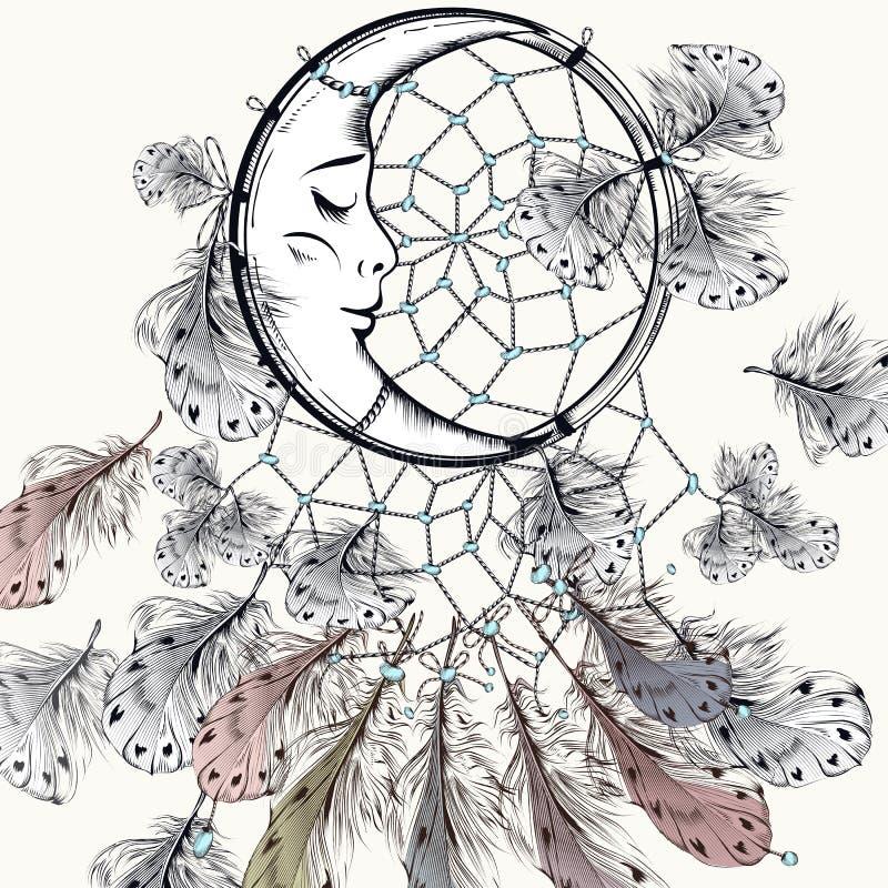 Ejemplo tribal de la moda de Boho con el dreamcatcher y las plumas stock de ilustración