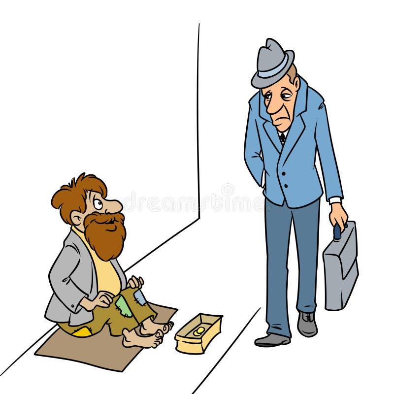 Ejemplo triste de la historieta del oficinista del hombre de negocios del mendigo alegre ilustración del vector