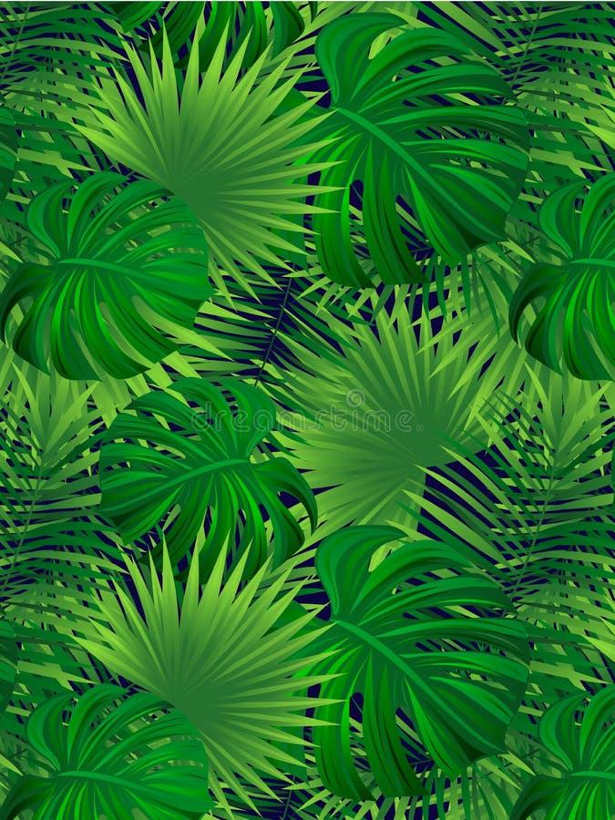 Ejemplo tropical del vector del bosque Fondo tropical Textura inconsútil de la selva Marco de la frontera de Verticalal el trópic ilustración del vector