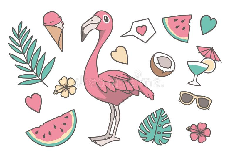 Ejemplo tropical del vector fijado con el pájaro del flamenco del estilo lindo de la historieta, la hoja rosados de la palma y de libre illustration