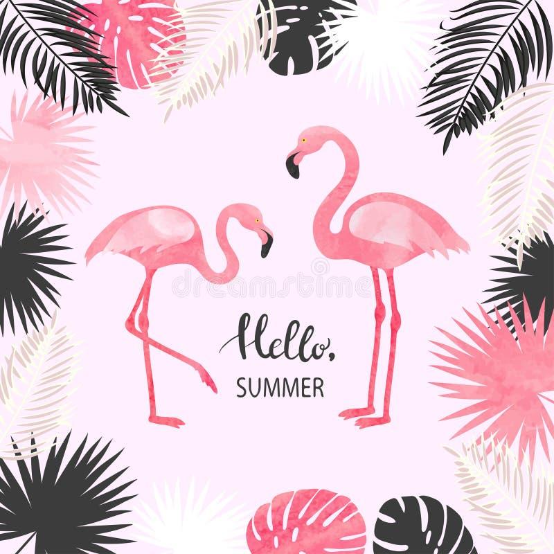 Ejemplo tropical del vector del verano con el flamenco y las hojas de palma de la acuarela ilustración del vector