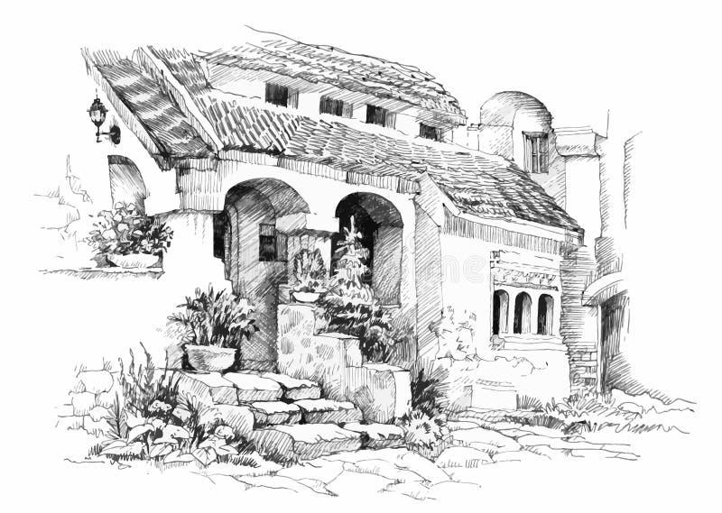 Ejemplo tropical dibujado mano del centro turístico del bosquejo libre illustration