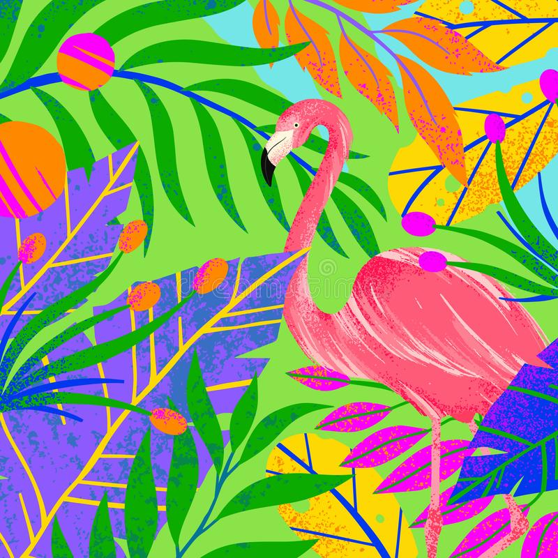 Ejemplo universal del vector con las hojas, las flores y el flamenco tropicales ilustración del vector