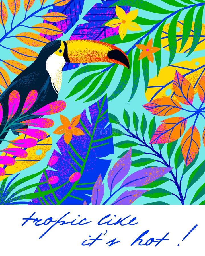 Ejemplo universal del vector con las hojas, las flores y el tucán tropicales foto de archivo libre de regalías