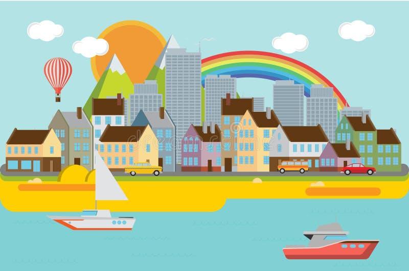 Ejemplo urbano del paisaje del diseño plano ilustración del vector