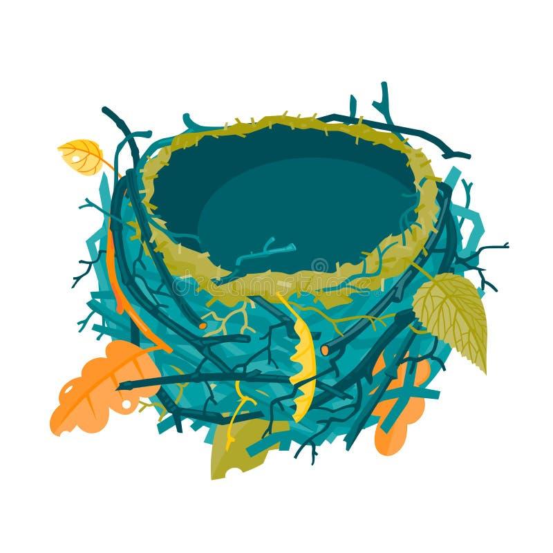 Ejemplo vacío del vector de la jerarquía del otoño azul stock de ilustración