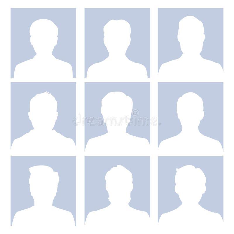 Ejemplo vacío humano del vector de las caras del avatar masculino stock de ilustración