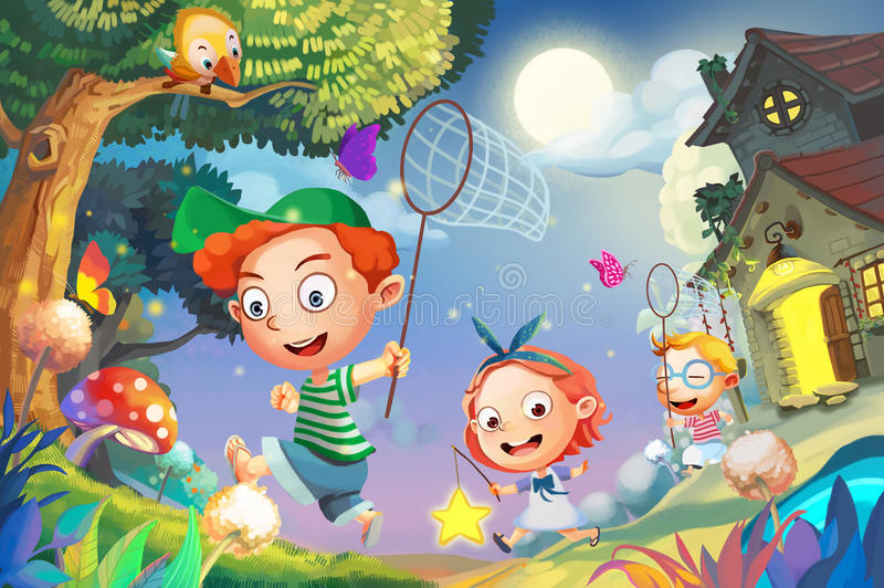 Ejemplo: ¡Vayamos a coger las luciérnagas! Pequeños amigos felices que juegan junto corrido en la noche asombrosa ilustración del vector