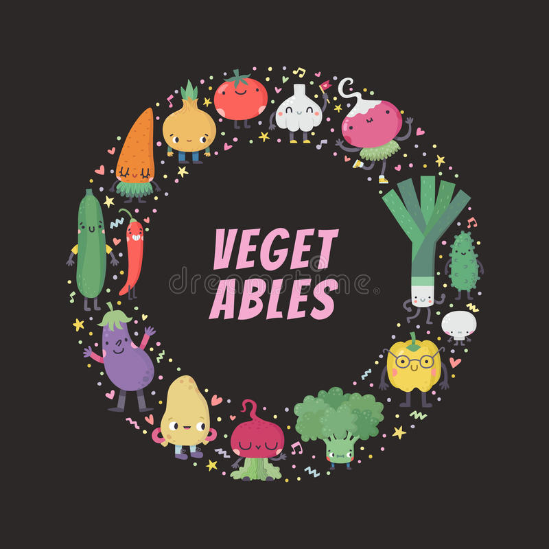 Ejemplo vegetal del marco del círculo de la historieta linda ilustración del vector