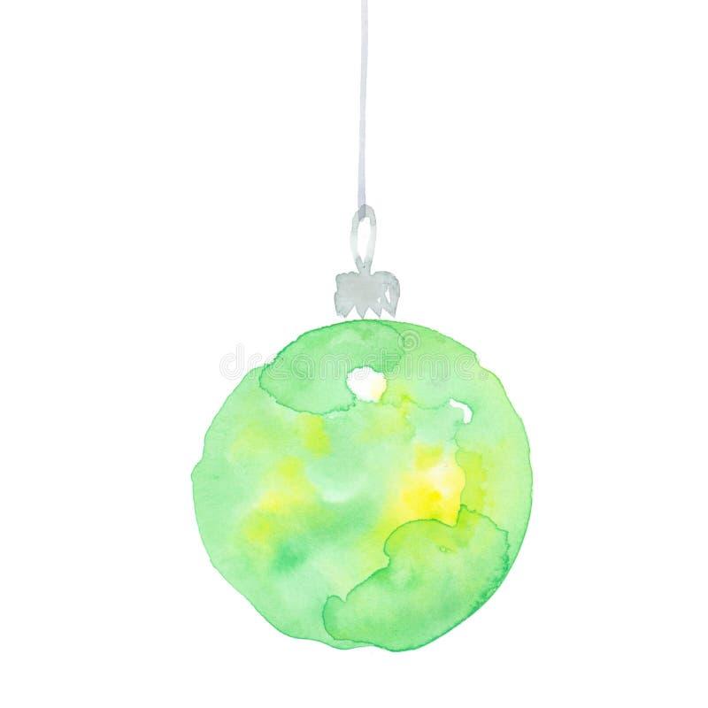Ejemplo verde de la acuarela de las decoraciones de la Navidad libre illustration