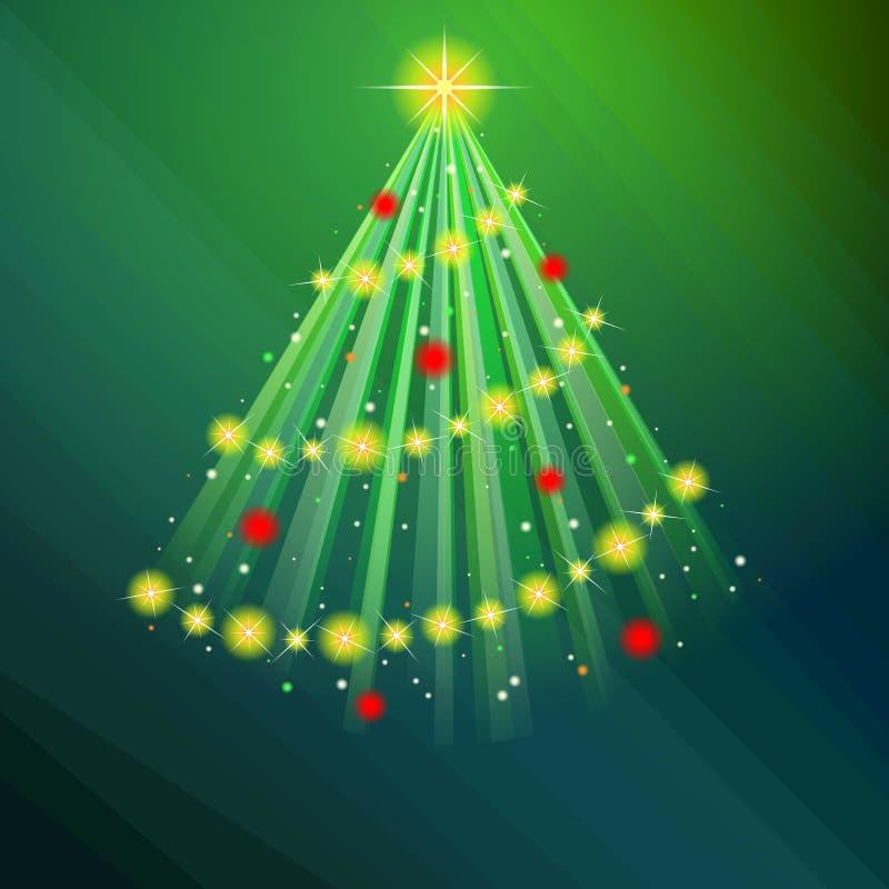 Ejemplo verde del árbol de navidad que brilla intensamente libre illustration