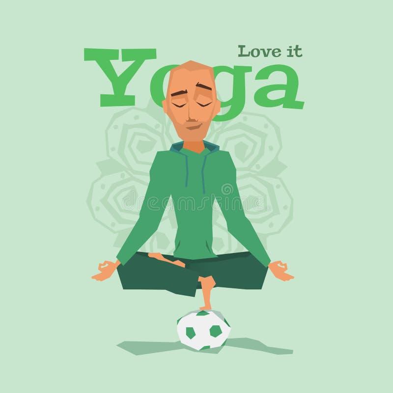 Ejemplo verde del vector de la habilidad de la actitud de la yoga ilustración del vector