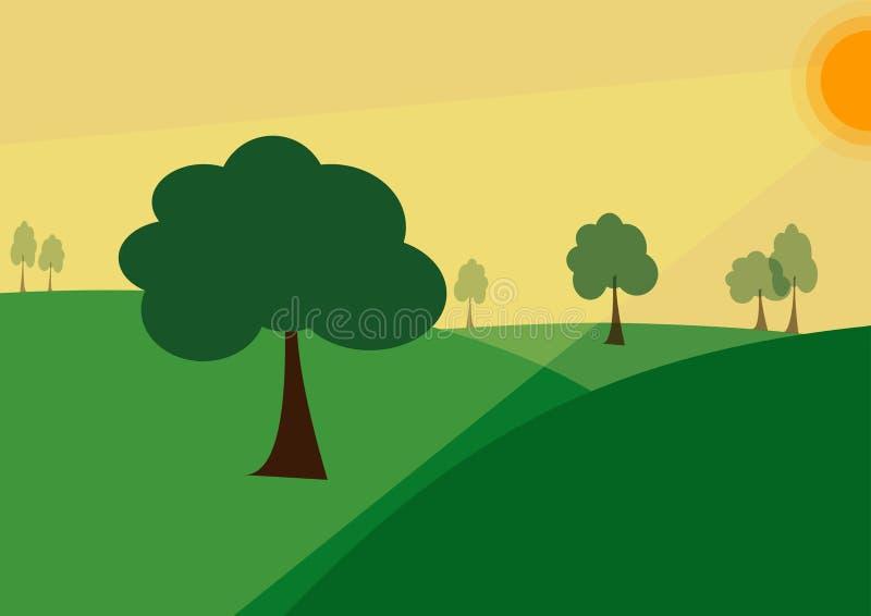 Ejemplo verde del vector de los árboles de la puesta del sol del verano del paisaje stock de ilustración