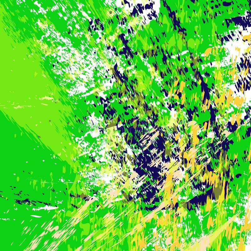 Ejemplo verde jugoso del fondo Las rayas texturizadas exhaustas de la mano, movimientos, salpican y los puntos ilustración del vector