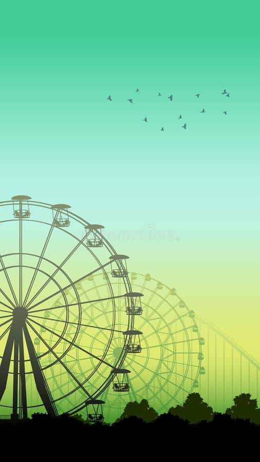 Ejemplo vertical de la montaña rusa y de Ferris Wheel ilustración del vector