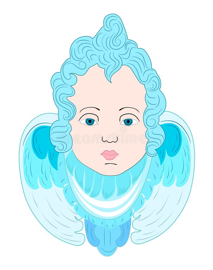 Ejemplo vertical de un dibujo de un ángel con las alas, fondo blanco, niño libre illustration