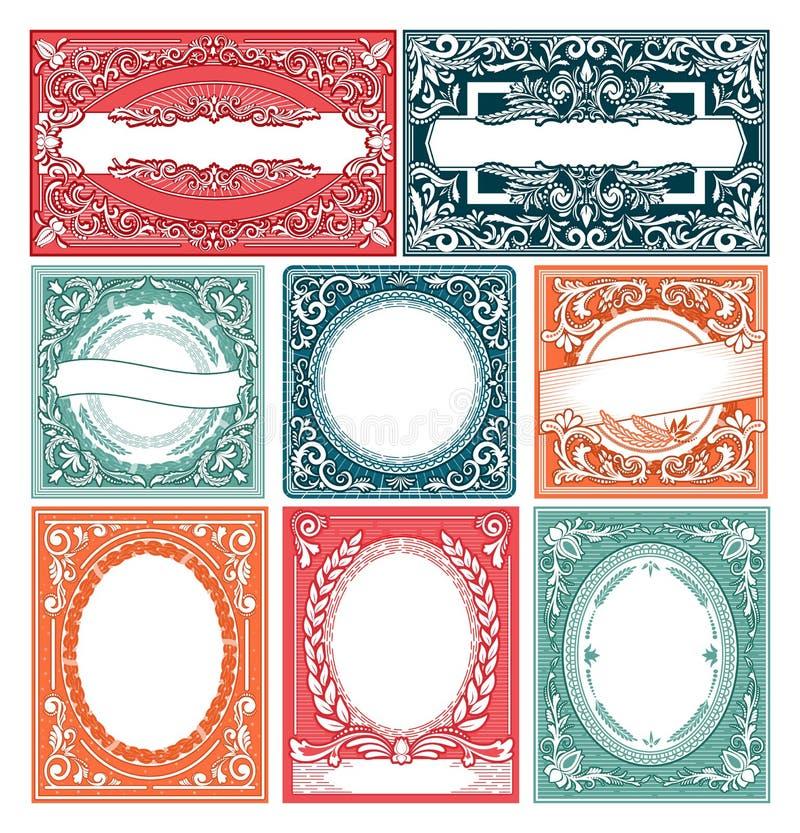 Ejemplo victorian de la plantilla de la bandera del cartel de la invitación de la decoración del diseño de la frontera retra de l libre illustration