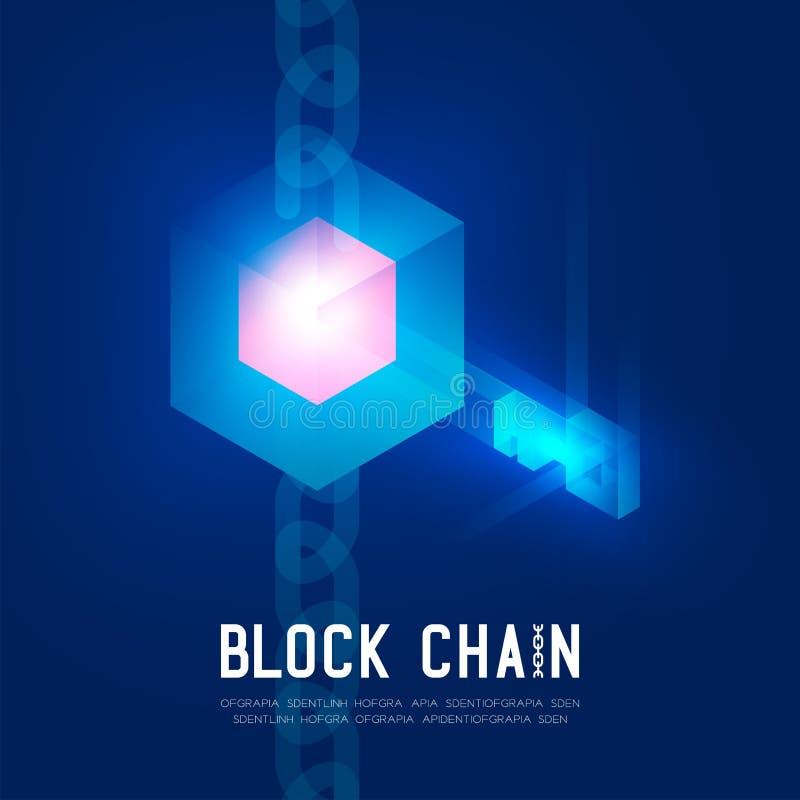 Ejemplo virtual de la tecnología 3D de Blockchain, del inicio de sesión isométrico de sistema de concepto del diseño en fondo azu stock de ilustración