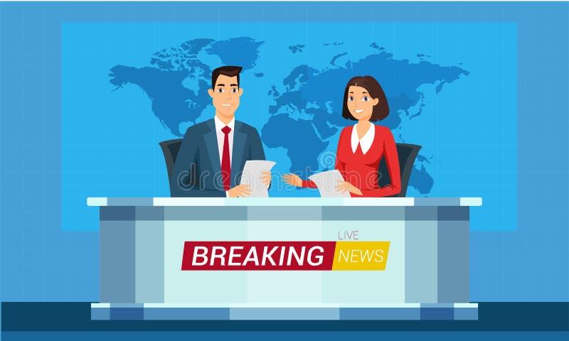 Ejemplo vivo del vector de la historieta de las noticias de última hora ilustración del vector