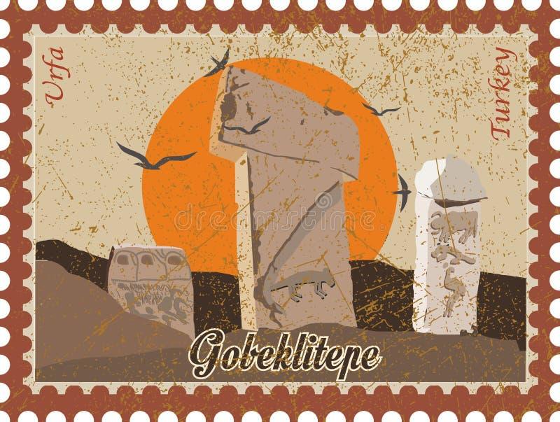 Ejemplo y silueta del vector que dibujan Gobeklitepe, Urfa, Turquía - vintage Patrimonio cultural de la UNESCO Tepe de Gobekli en stock de ilustración