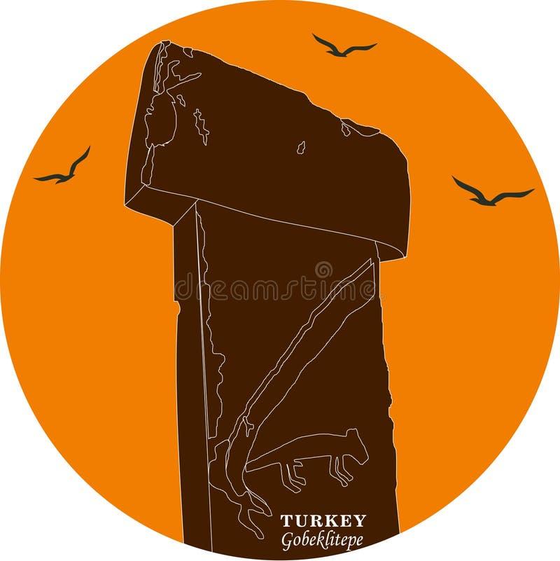 Ejemplo y silueta del vector que dibujan Gobeklitepe, Urfa, Turquía - vintage Patrimonio cultural de la UNESCO Tepe de Gobekli en ilustración del vector
