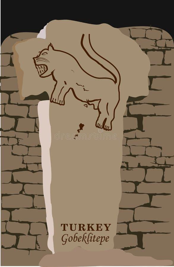 Ejemplo y silueta del vector que dibujan Gobeklitepe, Urfa, Turquía - vintage Patrimonio cultural de la UNESCO Tepe de Gobekli en libre illustration