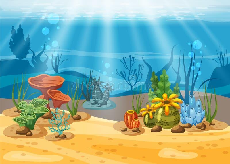 Ejemplo y vida subacuáticos la belleza de la vida marina Las algas y los arrecifes de coral son hermosos y coloridos, vector libre illustration
