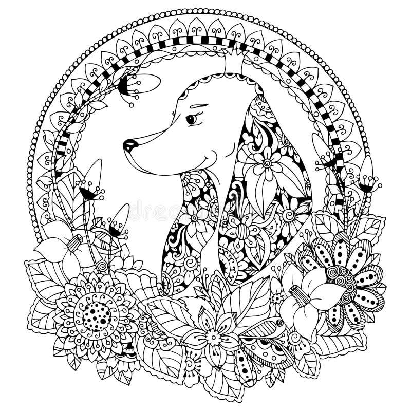 Ejemplo Zen Tangle Dog del vector en el marco redondo floral Arte del garabato Tensión anti del libro de colorear para los adulto ilustración del vector