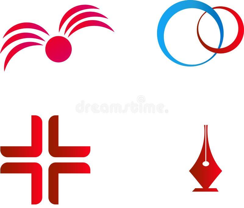 Ejemplos únicos del vector en rojo fotografía de archivo