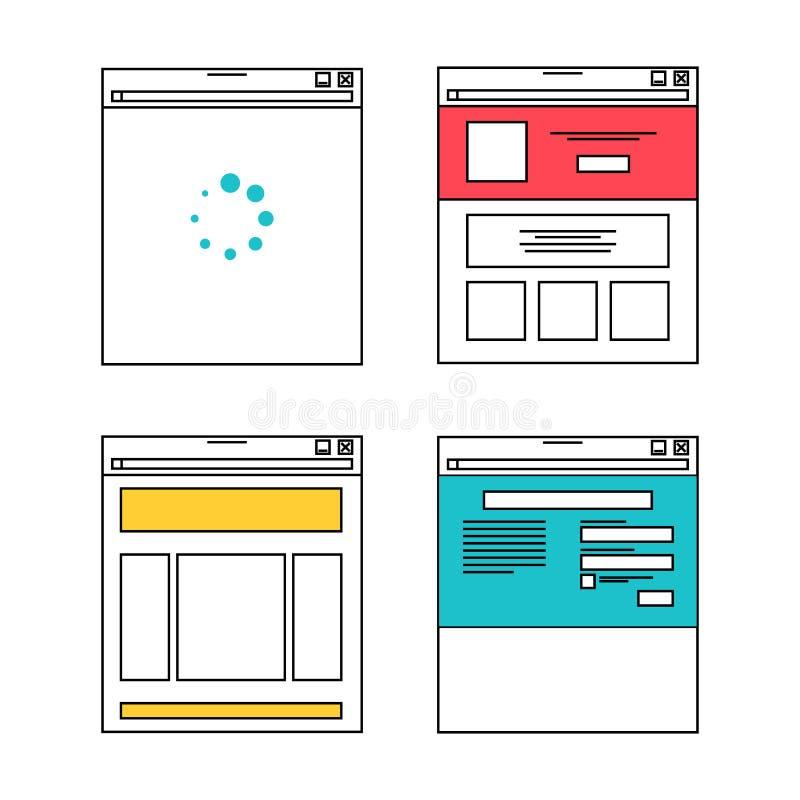 Ejemplos básicos de la disposición del sitio web ilustración del vector