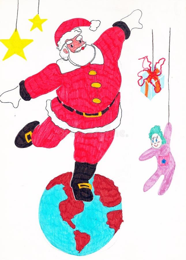 Ejemplos coloridos de Papá Noel ilustración del vector