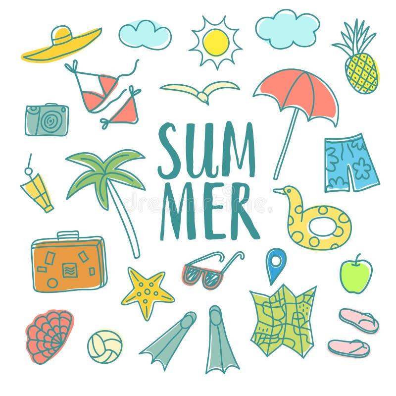 Ejemplos coloridos del garabato de las vacaciones de verano fijados stock de ilustración