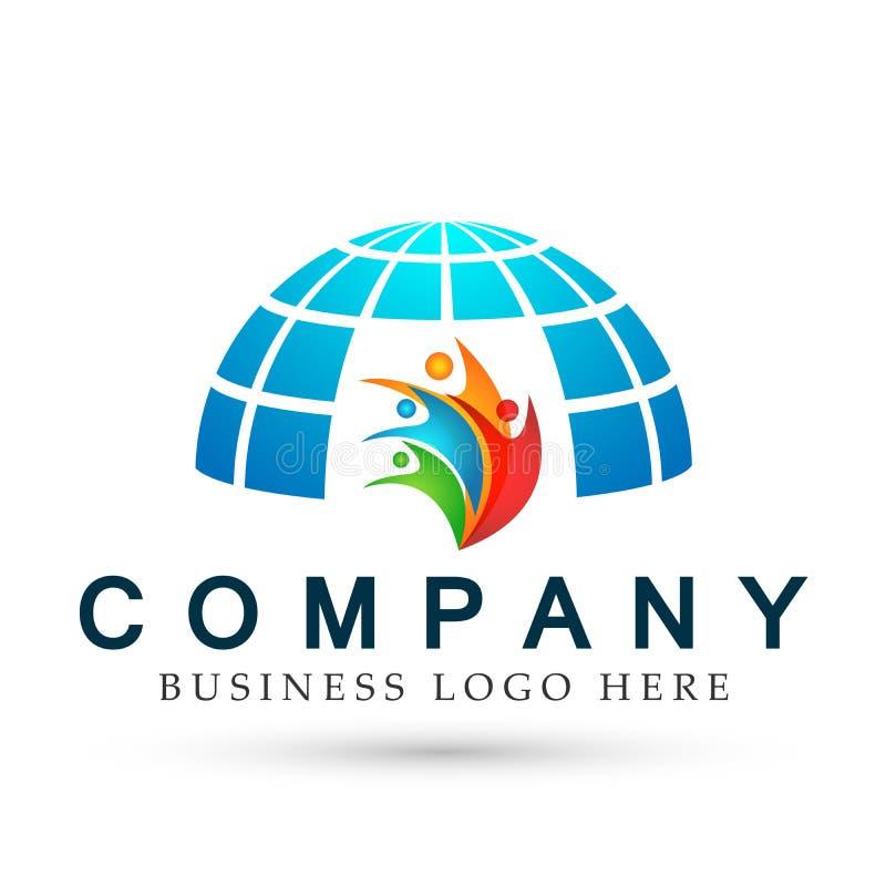 Ejemplos coloridos del vector del concepto del elemento del icono del logotipo de la salud del informe de la gente del mundo abst libre illustration