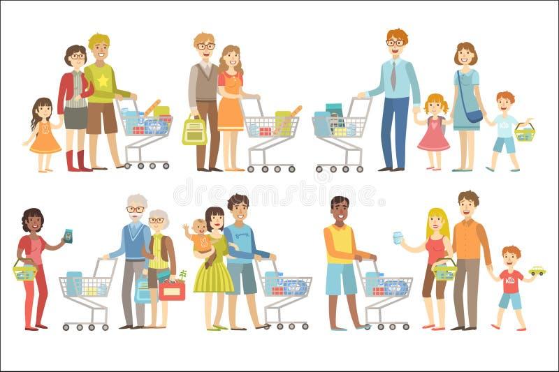Ejemplos coloridos juntos simplificados del vector plano del estilo de la historieta de las compras de las familias en el fondo b ilustración del vector
