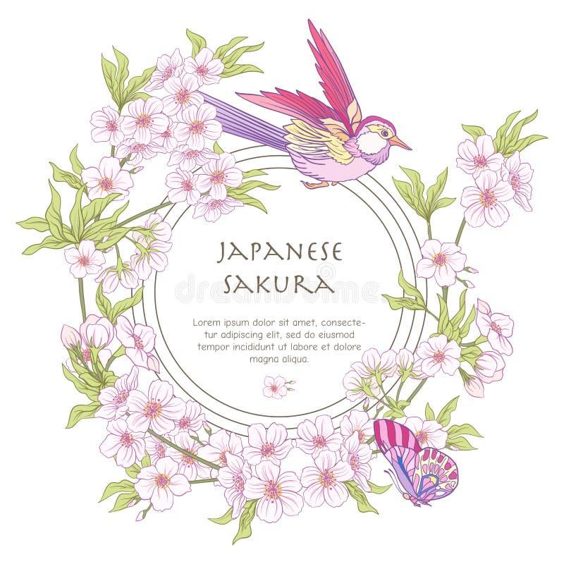 Ejemplos con el rosa japonés Sakura del flor y pájaros con p ilustración del vector