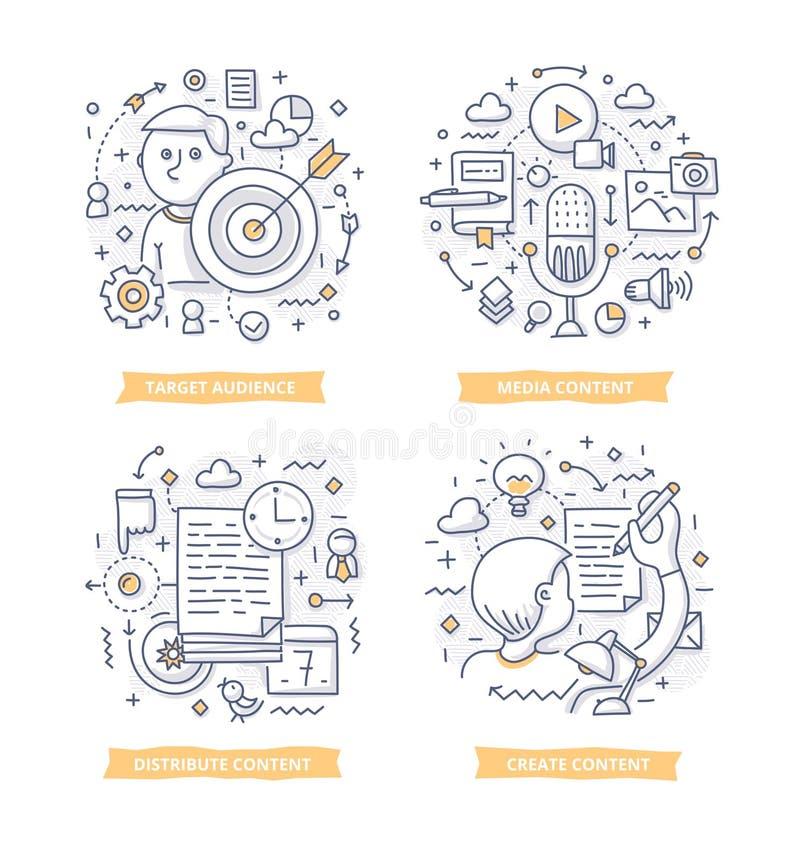 Ejemplos contentos del garabato del márketing stock de ilustración