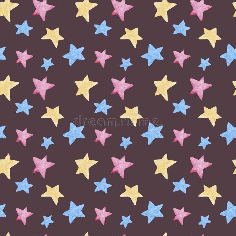 Ejemplos de la acuarela de estrellas Modelo inconsútil lindo stock de ilustración