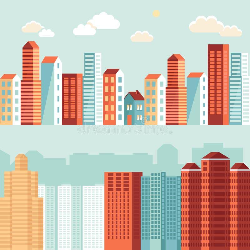 Ejemplos de la ciudad del vector en estilo simple plano stock de ilustración