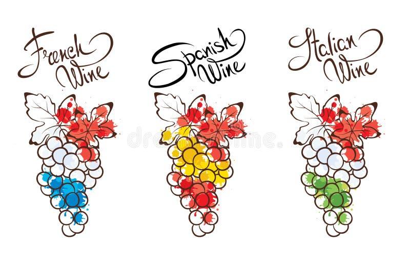 Ejemplos de la colección -- vino de Francia, de Italia y de España stock de ilustración